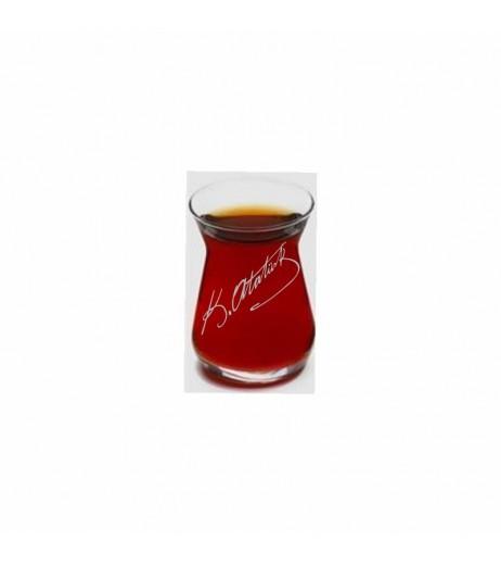 Atatürk İmzalı İnce Belli Çay Bardağı